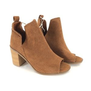 NWT Microsuede Laser Cut Out Ankle Heeled Boots
